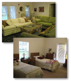Women's Refuge interior, couches, and beds